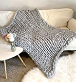 New La Reine Chunky Knit Blanket - Bulky, Soft, Fluffy, Oversized Cable Braided Hand Knotted Throw for Sofa, Boho Gift (Light Grey, 60' x 79')
