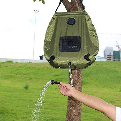 Escomdp Portatile 20L Solare Riscaldato Doccia Sacco D'acqua Per il Campeggio, Escursionismo e Altro All'aperto Spedizione - Verde