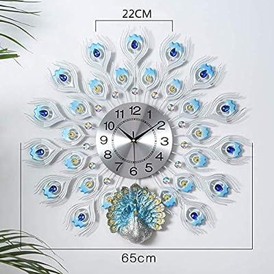 Peacock Diamond Quartz Wall Clock,Modern Crystal Decorative Clock,Silent Movement Living Room Art Rhinestone Wall Clock-c 65cm(26inch)