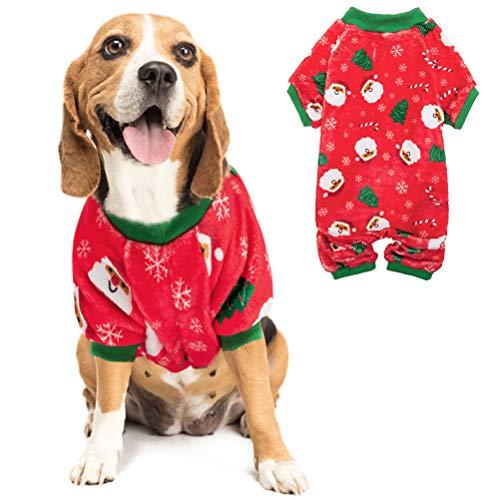 PUPTECK Puptech Hunde-Pyjama aus Flanell, mit Weihnachtsmannmotiv, Schneeflocke, weich, L