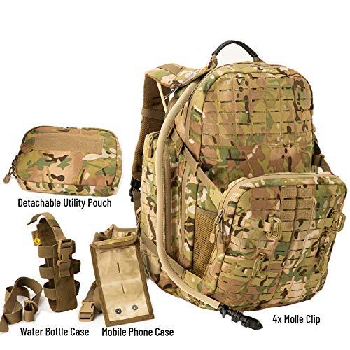 Akmax.cn Unbekannt MT 72H Militär-Rucksack, 3-Tage-Molle-Rucksack, Armee-taktischer Abenteuerrucksack YKK-Reißverschluss und UTX-Schnalle, 55 l, Multicam