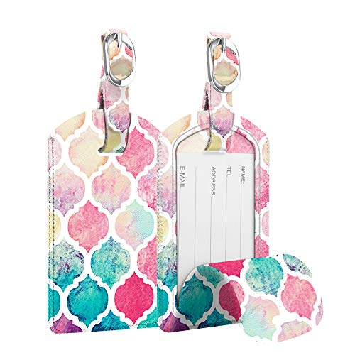 2 Pack Luggage Tags, Fintie PU Leather Name ID Labels with Privacy Cover for Travel Bag Suitcase (Moroccan Love)