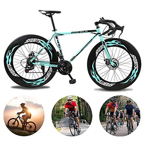 AURALLL Vélo de Route, vélo léger et Portable Double Frein à Disque de vélos Haut Cadre en Acier au Carbone, pour Adulte Hommes Femmes 27 Vitesses 90 Cercles de Couteaux vélo,Bleu