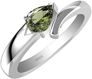 0.65ctw, Genuine Moldavite Pear & Solid .925 Sterling Silver Rings