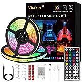 Vbakor Led Strip Lights Boat Lights, 12V Flexible RGB Strip Lights, IP65 Waterproof Boat Deck Lighting, Color Changing Marine Lights for Jon Bass Boat Sailboat Kayak, Fishing Boat Lights (10M-32.8FT)