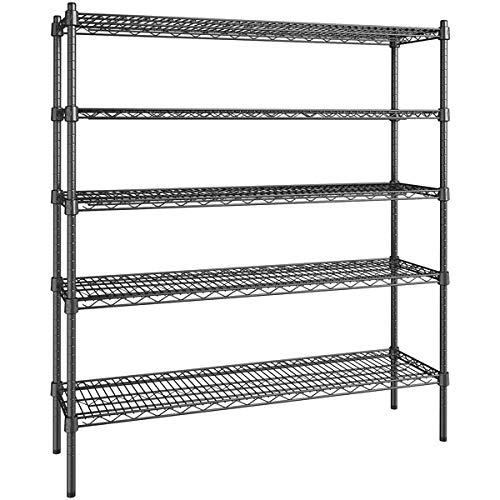 14 inch x 48 inch Certified Black Epoxy 5 Shelf Kit with 54 inch Posts. Storage Shelf. Garage Storage Shelves. Shelving Units and Storage. Food Storage Shelf. Storage Rack. Bakers Racks