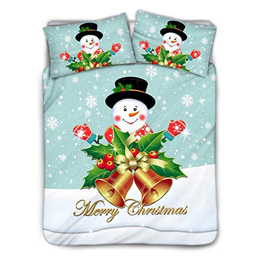 ZXXFR Duvet Cover Set Printed Cartoon snowman with christmas bell,Bedding Quilt Cover Soft Breathable for Girls Boys 3 Pieces (1 Duvet Cover + 2 Pillow cases)-220x260CM