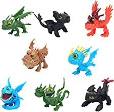 8 Pcs How to Train Your Dragon Toothless Dragon Plush Action Figure,Party Supplies Birthday, Funko pop, Toy Set: Toothless Night Fury Nadder