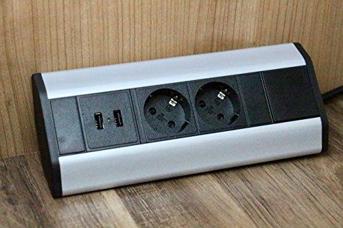 Premium Eck-Steckdose 2x Schuko, 2x USB für Küche, Büro aus Aluminium. Mehrfachsteckdose mit 1,8m Schuko Kabel auch als Möbelsteckdose. Ecksteckdosenleiste ideal für Arbeitsplatte als Aufbausteckdose