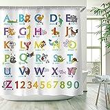 lovedomi ABC Alphabet Tiere Duschvorhang Kinder Pädagogisches Lernwerkzeug für Jungen & Babys Lustige Lehrwörter Große A bis Z Stoff Bunte Badezimmerdekoration mit 12 Haken (72x72)