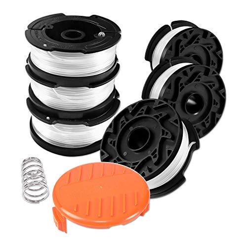 Uchidodo Bobine Fil Coupe Bordure pour Black et Decker Coupe-Bordures, 6 Bobine de Fil Debroussailleuse avec 1 Couvercle de Bobine et 1 Ressort