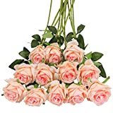 Tifuly - 12 rose artificiali, 40,5 cm a stelo lungo, bouquet da sposa in seta, fiori realistici per casa, giardino, feste, hotel, ufficio, decorazione (rose in fiore, rosa champagne)