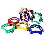 Olgaa Pandereta de plástico con campanas, 8 piezas de pandereta de percusión musical, juguetes musicales para adultos, niños pequeños en casa, escuela, fiestas (4 colores)