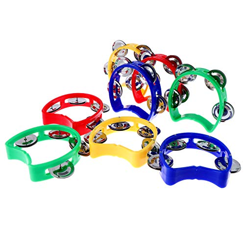 Olgaa 8 Pieces Tambourine with Bells Plastic Hand Bell Musical Percussion...