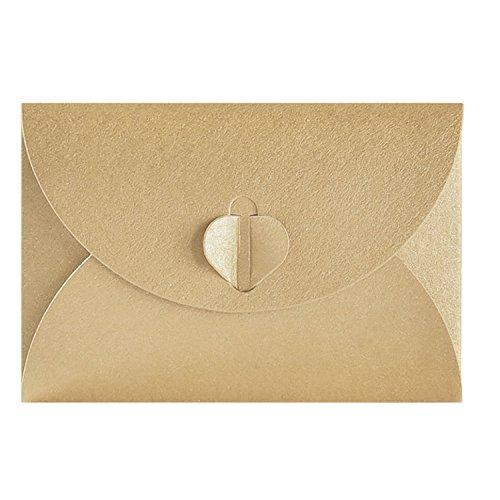 50pcs Sobre de papel Kraft,Creativo retro Sobre en forma de corazón lindo, para la boda, fuentes del regalo de la fiesta de cumpleaños (17.5cmx11.5cm)