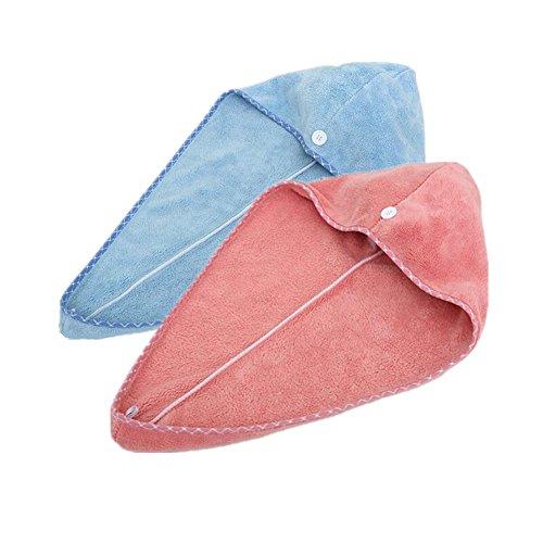 Happyit 2 PCS Hohe Qualität Feine Faser Weiche Kopf Handtuch Super Magie Absorbierende Haar Trocknen Hut für frauen Mädchen dame Bad Dusche (Himmelblau + Rosenrot)