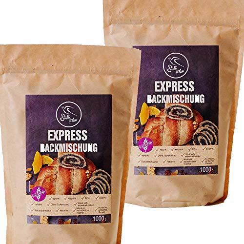 Szafi Free Doppelpack Express Backmischung für Teig ohne Gärung, 100% glutenfrei und vegan, 2x 1000g