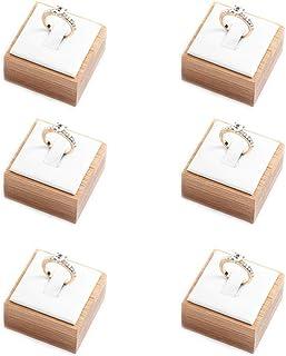 Coward Bamboo 6 Pcs Rings Display Stand PU Leather Jewelry Holder (White pu)