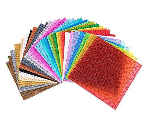 Strictly Briks Set da 36 basi per Costruzioni impilabili - Compatibile con Tutte Le Principali Marche - 15,2 x 15,2 cm - Arcobaleno
