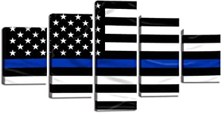 Retro Thin Blue Line American Flag Wall Art Decor 5 Panels Black and White USA US Flag Canvas Painting Print Pictures Poster Artwork Home Decor for Living Room Framed Ready to Hang (60