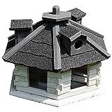 Melko Vogelhaus 6-eckig mit Bitumschindeln und Futterspender Weiß/Grau 48 x 33 cm, vorbehandelt
