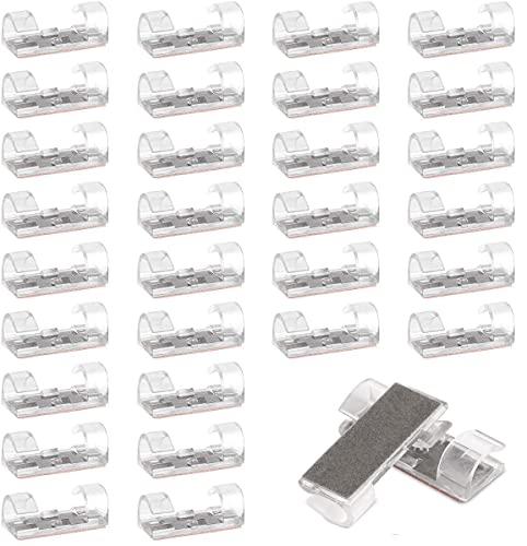 Sunnysam Clips de cable autoadhesivos, soporte para cables, pasacables autoadhesivo, color blanco transparente con adhesivo seguro, pinzas de cable, para coche, hogar, oficina, juego de 20 unidades