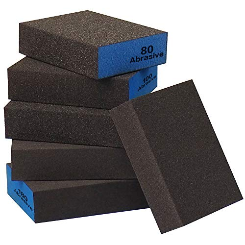 Sanding Sponge, Auerllcy Coarse/Medium/Fine/Superfine 6 Different Specifications Sanding Blocks Assortment,6 PCS,Washable and Reusable.