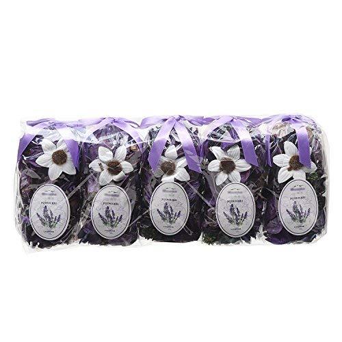Qingbei Rina Purple Lavender Potpourri Bags Light Scent Fresh Perfume Sachet Home Fragrane Dried Flower Petal Diffuser for Essential Oil.5 Bags.Total Volume for a 120 Fl-Oz Bowl
