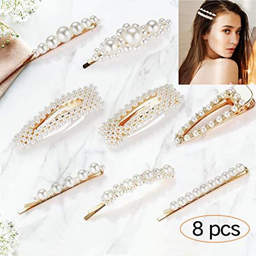 clips de pelo perlas 8 Pcs, iFanze clips de pelo, clips de pelo niña, Pinza De Pelo, clips de pelo boda, pinza de pelo niña, clips de pelo mujer, por regalo cumpleaños y regalo chicas, boda