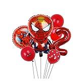 YSJSPOL Globo Regalos Juguetes for 7pcs del Partido del Globo de la araña de Hierro Capitán América Foil Partido BBirthday Globo Decoración de Niños Partido (Color : Spiderman 2)