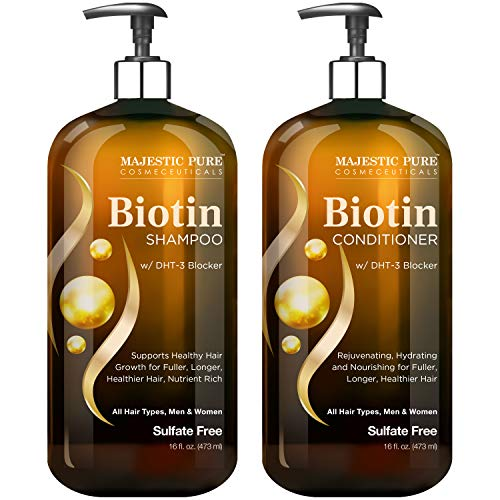 MAJESTIC PURE Biotin Shampoo and Conditioner Set with DHT Blocker Complex - Hydrating, Nourishing & Supporting Healthy Hair Growth, Sulfate Free, for Men & Women - 16 fl oz each