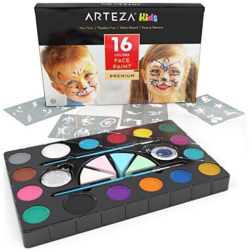 Arteza Kids Pintura facial para niños | Kit de 16 colores de...