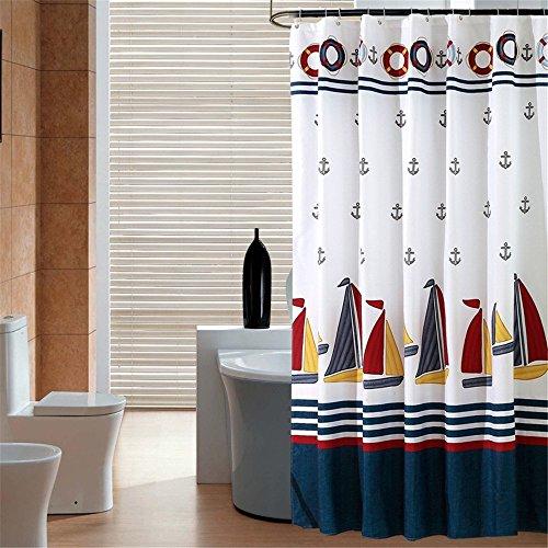 Anchor und Boot Duschvorhang Anti-Schimmel & Wasserdicht Polyester Fabric Badvorhang mit verstärktem Saum, mit Haken 120/150/180/200/220/240 x 200cm