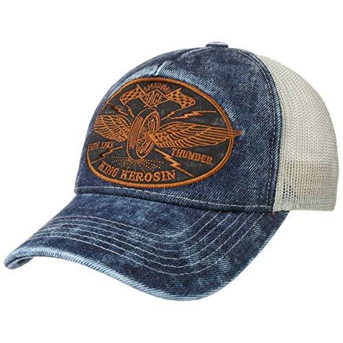 King Kerosin Ride Like Thunder Trucker Cap Basecap Baseballcap Meshcap Snapback Biker-Cap (One Size - Denim)
