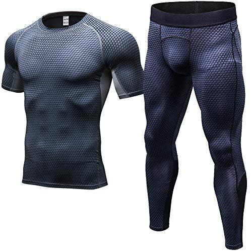 Shengwan 2 Piezas Conjunto de Ropa Deportiva Hombre Camiseta de Compresión Manga Corta + Leggings Deportiva para Correr Fitness Gris Neto XL