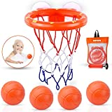 MARPPY Bath Toys, Bathtub Basketball Hoop for Toddlers Kids, Boys and Girls with 4 Soft Balls Set & Strong Suction Cup, Bathtub Shooting Game & Fun Toddlers Bath Toys for Boys or Girls
