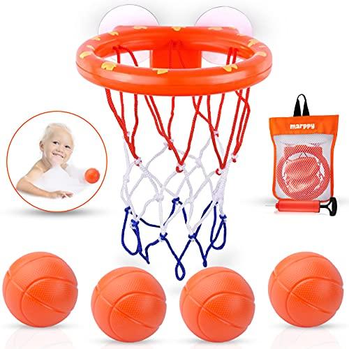 MARPPY Bath Toys, Bathtub Basketball Hoop for Toddlers Kids, Boys and...