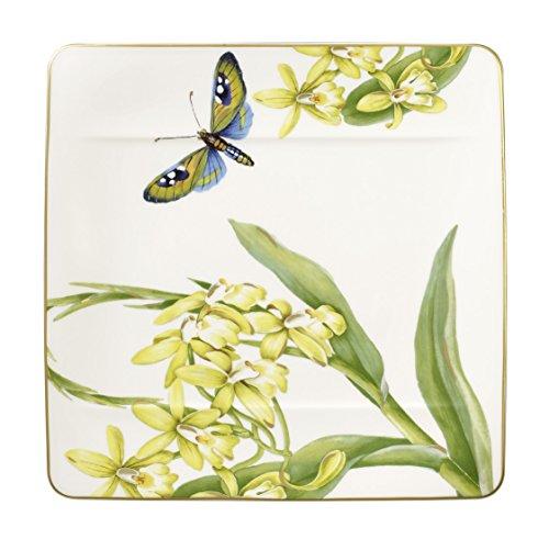 Villeroy & Boch Amazonia quadratischer Frühstücksteller, Edles Geschirr aus Premium Bone Porzellan, 23 x 23 cm