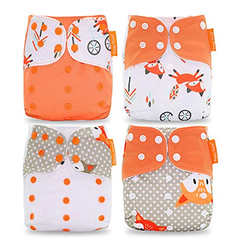 HahaGo Couches lavables pour bébé Couches réutilisables pour bébé Insérez une couche de poche tout-en-un pour la plupart des bébés et des tout-petits (4PCS, motif de renard orange)