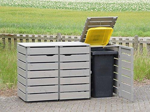 3er Mülltonnenbox / Mülltonnenverkleidung 240 L Holz, Transparent Geölt Grau - 2