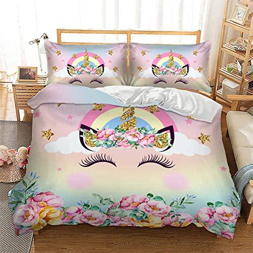 NFDF Ropa de cama con diseño de unicornio, rosa, atrapasueños, arco iris cebra, caballo, funda...