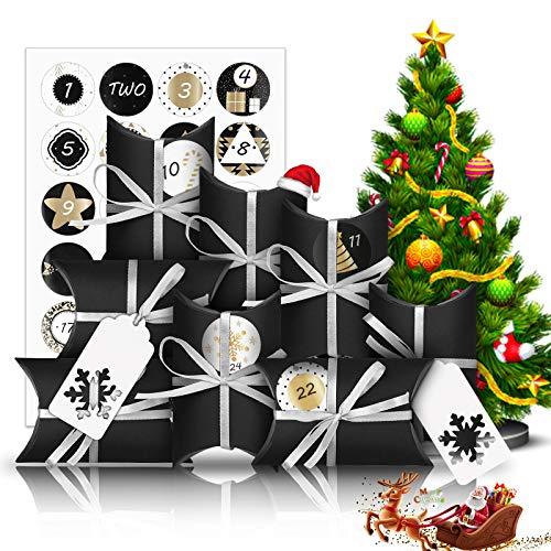 Molbory Adventskalender zum Befüllen, 24 Adventskalender Tüten Klein Geschenkschachtel mit 1-24 Adventszahlen, Weihnachten Geschenksäckchen DIY Deco Weihnachtskalender Bastelset für Männer Kinder