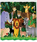 Zoo Duschvorhang Exotic Jungle Cheerful Fun Print für Badezimmer