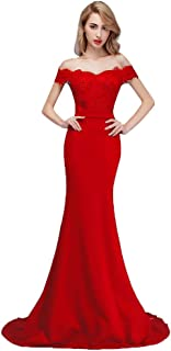 8460c5479fd6ba Honey Qiao Burgundy Off The Shoulder Mermaid Bridesmaid Dresses Long Prom  Party Gowns