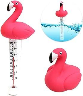 Verdelife Termómetro de Piscina Flotante, medidor de Temperatura del Agua en Forma de Flamenco de Dibujos Animados, con Cuerda para baño de Agua, Piscina