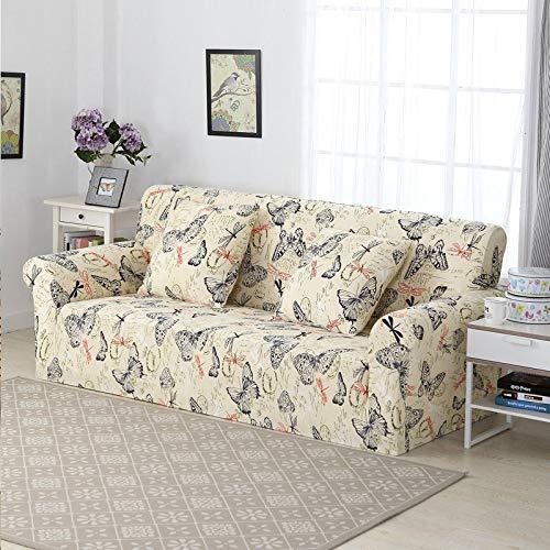 ASCV Cubierta seccional elástica elástica Wrap Funda de sofá Todo Incluido para Sala de Estar Funda de sofá en Forma de L Loveseat A12 Funda de cojín x2