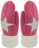 Blackshirt Company Kinder Handschuhe Fäustlinge mit Stern und Glitzer Strick Handschuhe gefüttert Color Pink