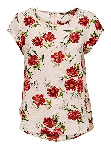 ONLY Damen Onlvic Ss AOP Top Noos WVN T-Shirt, AOP:ROSIE FLOWER Pink Tint, 34