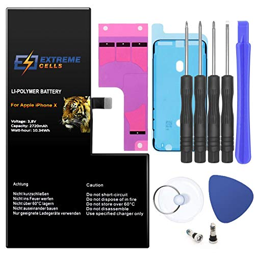 Extremecells Akku kompatibel mit iPhone X + Werkzeug Set ersatz Batterie Accu 2720mAh