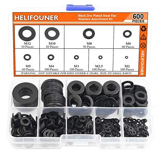 HELIFOUNER 600 Pieces 9 Sizes Black Zinc Plated Steel Flat Washers Assortment Kit (M2 M2.5 M3 M4 M5 M6 M8 M10 M12)